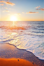 Preview iPhone wallpaper Beautiful sunset scenery, sea, sky, clouds, sand, beach