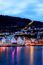 Preview iPhone wallpaper Bergen, Norway, city, evening, houses, lights, sea, dock, boat