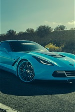 Preview iPhone wallpaper Chevrolet Corvette C7 Stingray blue car