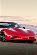 Preview iPhone wallpaper Chevrolet Corvette red supercar, road