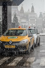 Preview iPhone wallpaper City landscape, Moscow, taxis, snow, street