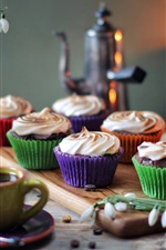 Preview iPhone wallpaper Cupcakes, cream, snowdrops, flowers, cups, coffee, candles