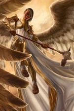 Preview iPhone wallpaper Fantasy girl, angel, armor, wings, flight