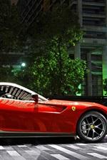 Ferrari 599 GTO red supercar, night, parking, city