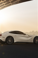 Preview iPhone wallpaper Ferrari F12 Berlinetta white supercar rear view