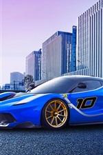Ferrari FXX K race car, blue supercar