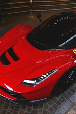 Ferrari LaFerrari red supercar top view, night