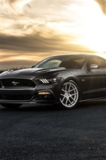 Preview iPhone wallpaper Ford Mustang 2015, black car, dusk