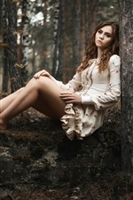 Preview iPhone wallpaper Girl in the woods, sadness, loneliness, legs