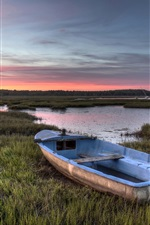 Preview iPhone wallpaper Grass, boat, lake, sunset