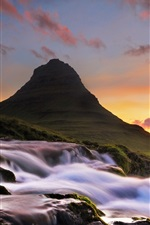 Iceland, Kirkjufell, mountain, waterfall, morning, dawn, clouds