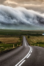 Preview iPhone wallpaper Iceland, road, houses, clouds