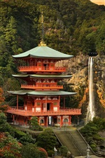 Preview iPhone wallpaper Japan landscape, temple, mountain, trees, waterfall