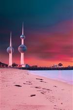 Preview iPhone wallpaper Kuwait Towers, sunset, bridge, beach, coast