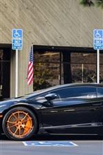Preview iPhone wallpaper Lamborghini Aventador LP700-4 black supercar side view, road