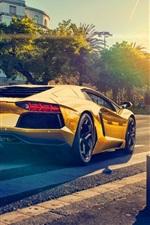 Preview iPhone wallpaper Lamborghini Aventador LP700-4 gold color car, sunset