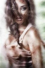 Lara Croft, Tomb Raider, olhar, chuva