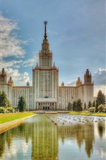 Preview iPhone wallpaper Moscow University, summer, water, pond, grass, trees