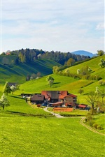Mountains, hills, valley, grass, trees, house, farmstead