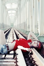 Preview iPhone wallpaper Red dress girl, asian, railroad, lying