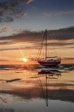 Sea, boat, sunset