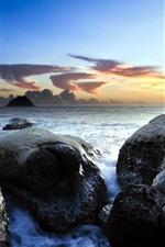 Sea, rocks, sky, dusk