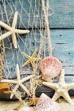 iPhone обои Раковины, морские звезды, песок, дерево