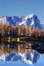 Sky, stone mountains, snow, lake, water reflection, trees, autumn