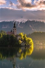 Preview iPhone wallpaper Slovenia, Bled lake, morning, mountains, Alps, sky, clouds