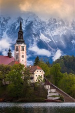 Preview iPhone wallpaper Slovenia, Bled lake, mountains, Alps, houses