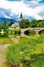 Preview iPhone wallpaper Slovenia, bridge, river, church, grass, summer, clouds