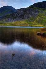Preview iPhone wallpaper Snowdonia, lake, mountains, grass, sunset, dog