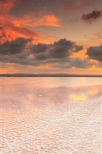 Preview iPhone wallpaper Spain, Valencia, salt lake, dawn, sky, clouds