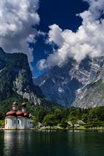 Preview iPhone wallpaper St Bartholomew's Church, Bavaria, Germany, Alps, lake