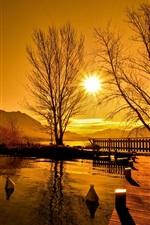 Preview iPhone wallpaper Sunset, bridge, lake, trees