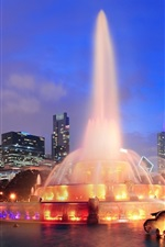 Preview iPhone wallpaper USA, Illinois, Chicago, city, night, lights, fountain