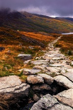 Preview iPhone wallpaper Wales, Great Britain, autumn, stone, path, clouds, grass