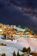 Inverno, montanhas, céu, noite, estrelas, casas, luzes