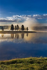 Preview iPhone wallpaper Yellowstone National Park, USA, sky, clouds, trees, river, fog, sunrise