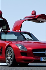 Preview iPhone wallpaper 2014 Mercedes-Benz SLS 63 AMG red car