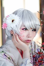 Preview iPhone wallpaper Asian girl, white hair