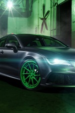 Preview iPhone wallpaper Audi RS7 car, headlights, night