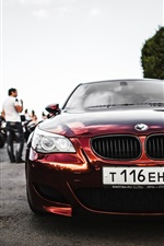 Preview iPhone wallpaper BMW E60 red car front view