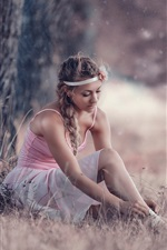 Preview iPhone wallpaper Ballerina, pointe shoes, skirt, girl, tree