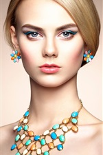 Preview iPhone wallpaper Beautiful fashion girl, portrait, makeup, jewelry
