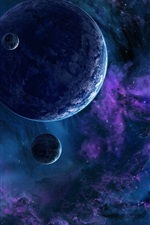 Preview iPhone wallpaper Beautiful space, planet, blue style, stars