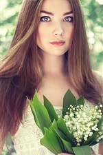 Preview iPhone wallpaper Beautiful young girl, portrait, bouquet lilies