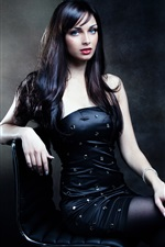 Preview iPhone wallpaper Black hair girl, posture, sitting on chair