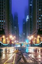 Preview iPhone wallpaper Chicago, Illinois, USA, night, city, bridge, road, skyscrapers