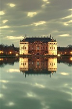 Dresden Park, Germany, dusk, lights, castle, lake, water reflection